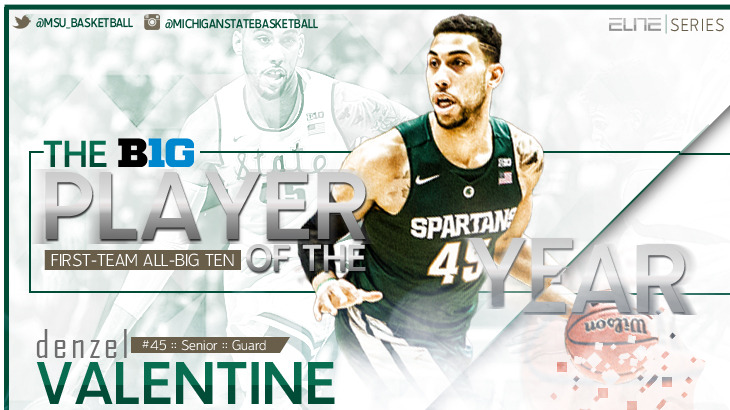 more photos 6a198 09cf9 Denzel Valentine Named Big Ten Player of the Year - Michigan ...