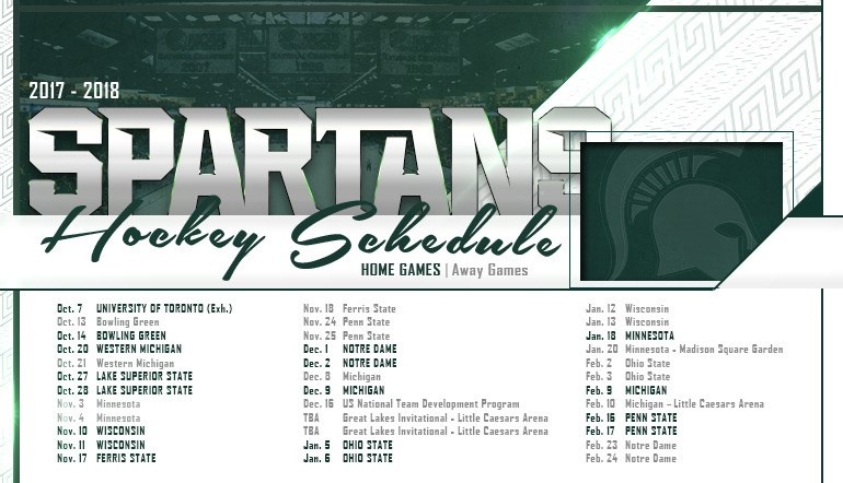 Spartans Announce 2017-18 Hockey Schedule - Michigan State University Athletics