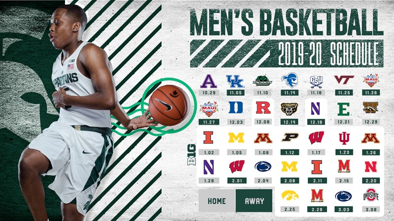 Michigan State Announces 2019 20 Men S Basketball Schedule