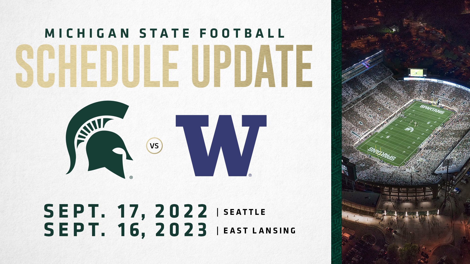Spartans Move Up Home And Home Series With Washington To 2022 2023 Michigan State University Athletics